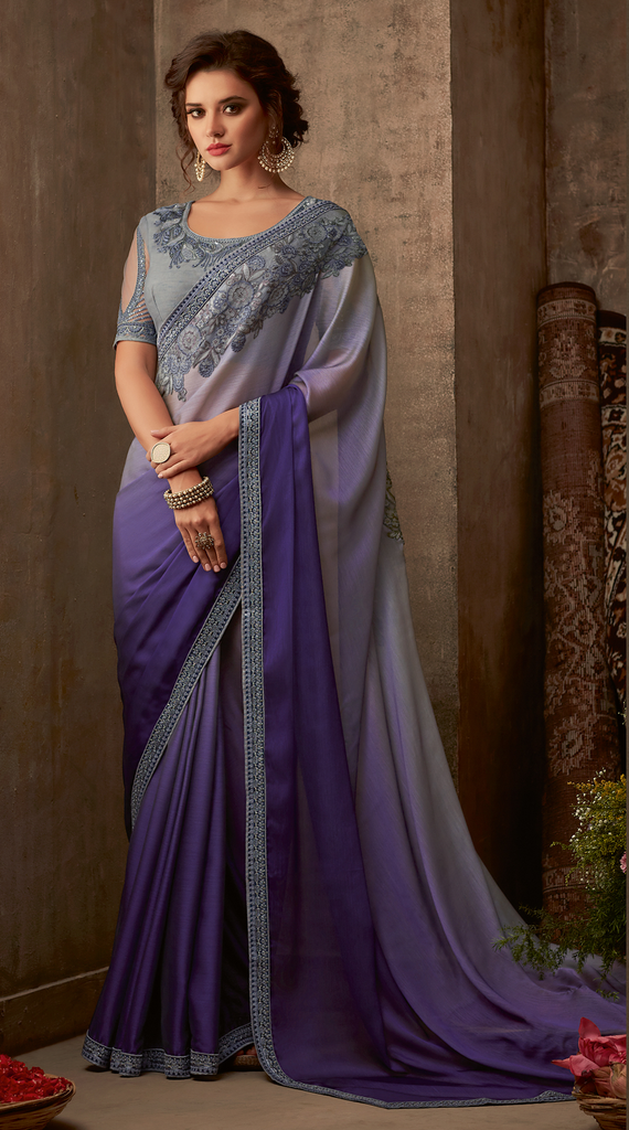 Shaded Purple Designer Embroidered Silk Party Wear Saree-Saira's Boutique