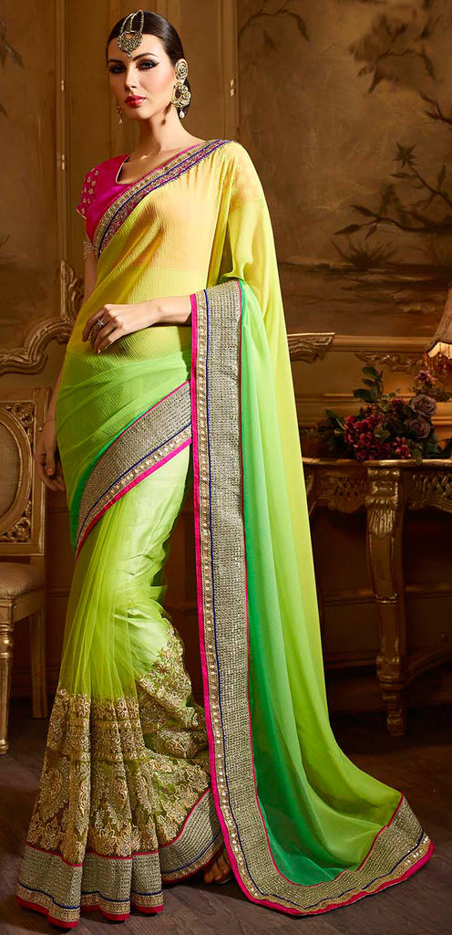 Shaded Green & Yellow Designer Embroidered Party Wear Saree