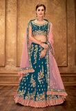 Sherpa Blue & Pink Designer Heavy Embroidered Silk Wedding Lehenga-Saira's Boutique