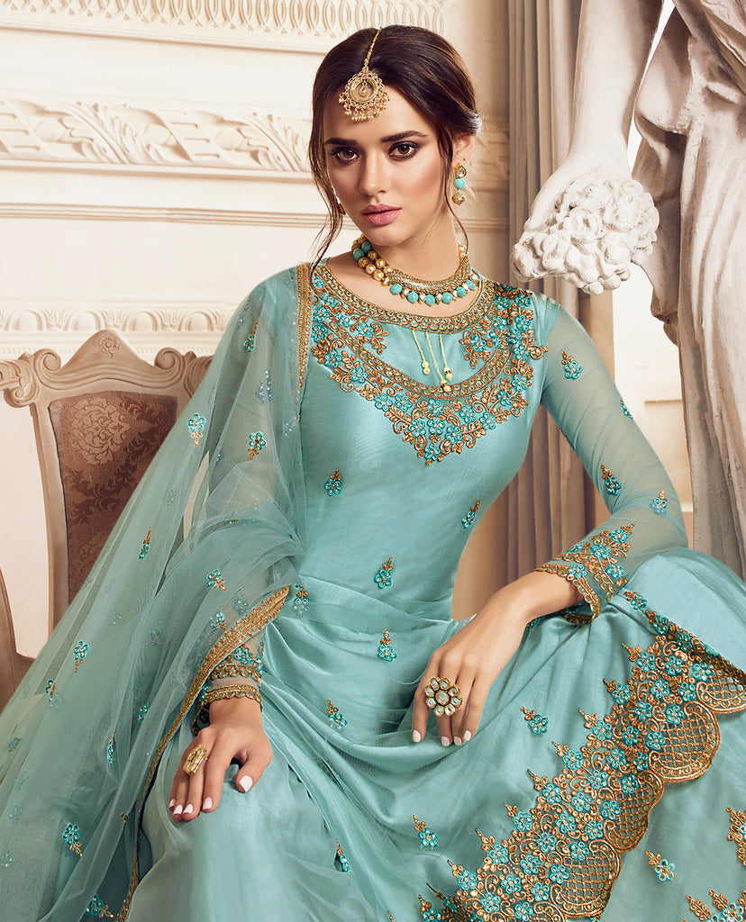 Sky Blue Designer Embroidered Net Sharara Suit-Saira's Boutique