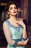 Sky Blue Designer Embroidered Satin Anarkali Gown-Saira's Boutique