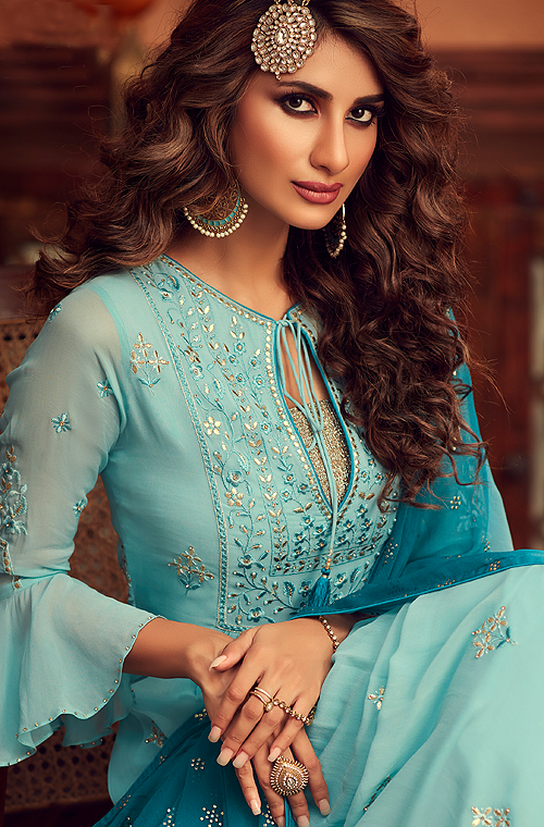 Sky Blue & Dark Blue Designer Embroidered Georgette Sharara Suit-Saira's Boutique
