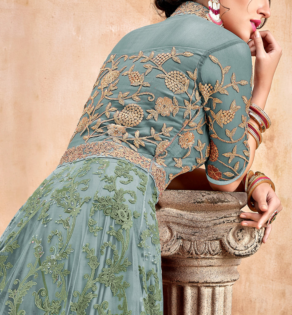 Sky Blue & Gold Designer Heavy Embroidered Net Wedding Anarkali Suit-Saira's Boutique