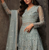 Slate Blue Designer Embroidered Net Lehenga Style Anarkali Suit-Saira's Boutique