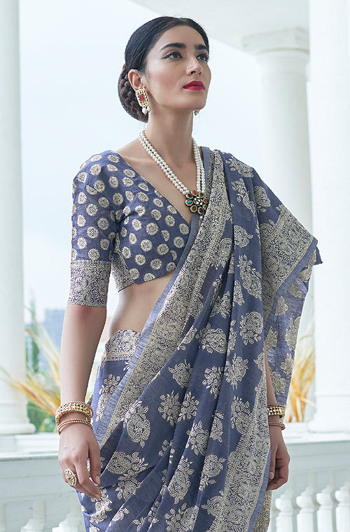 Slate Blue Designer Heavy Embroidered Chikankari Party Wear Saree-Saira's Boutique