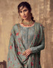 Slate Gray Designer Embroidered Party Wear Palazzo Suit-Saira's Boutique