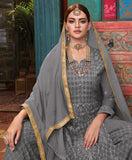Slate Gray Designer Heavy Embroidered Georgette Sharara Suit-Saira's Boutique