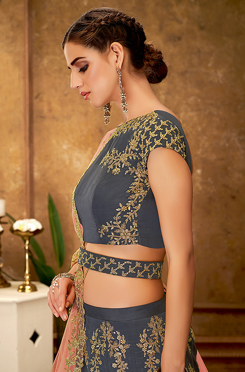 Slate Gray Designer Heavy Embroidered Silk Wedding Lehenga-Saira's Boutique