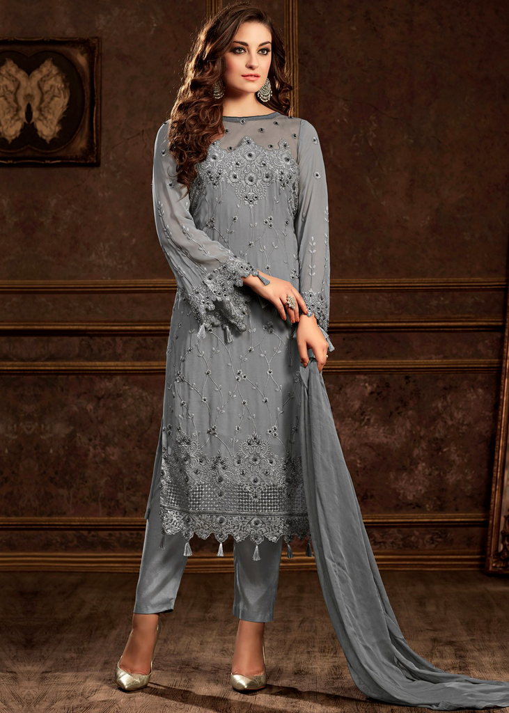 Slate Blue Designer Embroidered Georgette Party Wear Pant Suit-Saira's Boutique