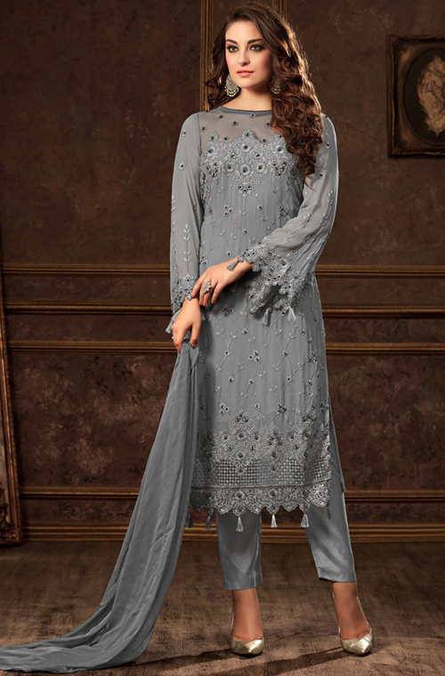 Slate Blue Designer Embroidered Georgette Party Wear Pant Suit