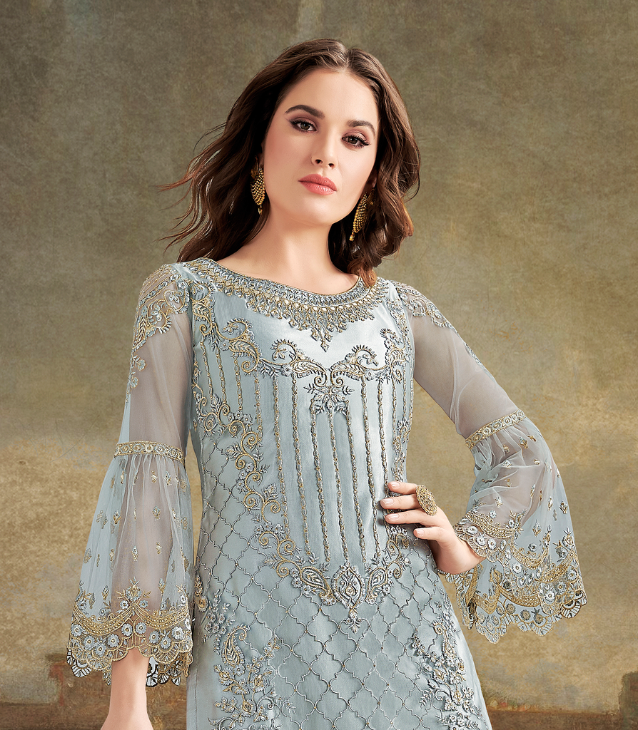 Slate Blue Designer Embroidered Net Wedding Gharara Suit-Saira's Boutique