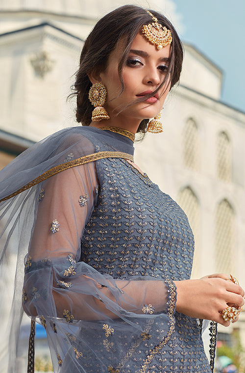 Slate Blue Designer Heavy Embroidered Net Gharara Suit-Saira's Boutique