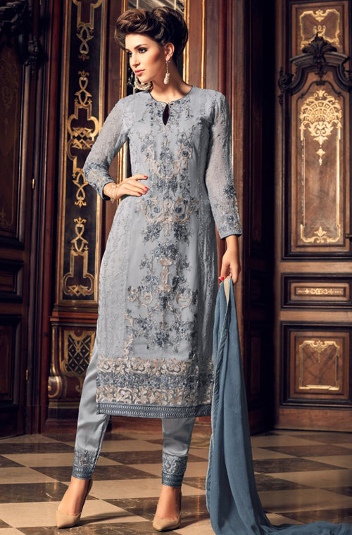 Slate Blue Georgette Designer Embroidered Pant Suit