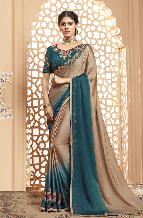 Stone Blue & Taupe Designer Embroidered Satin Georgette Saree-Saira's Boutique