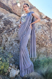 Stone Blue Designer Embroidered Fancy Party Wear Frill Saree-Saira's Boutique