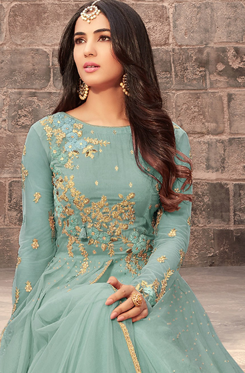 Stone Blue Designer Embroidered Net Wedding Anarkali Suit