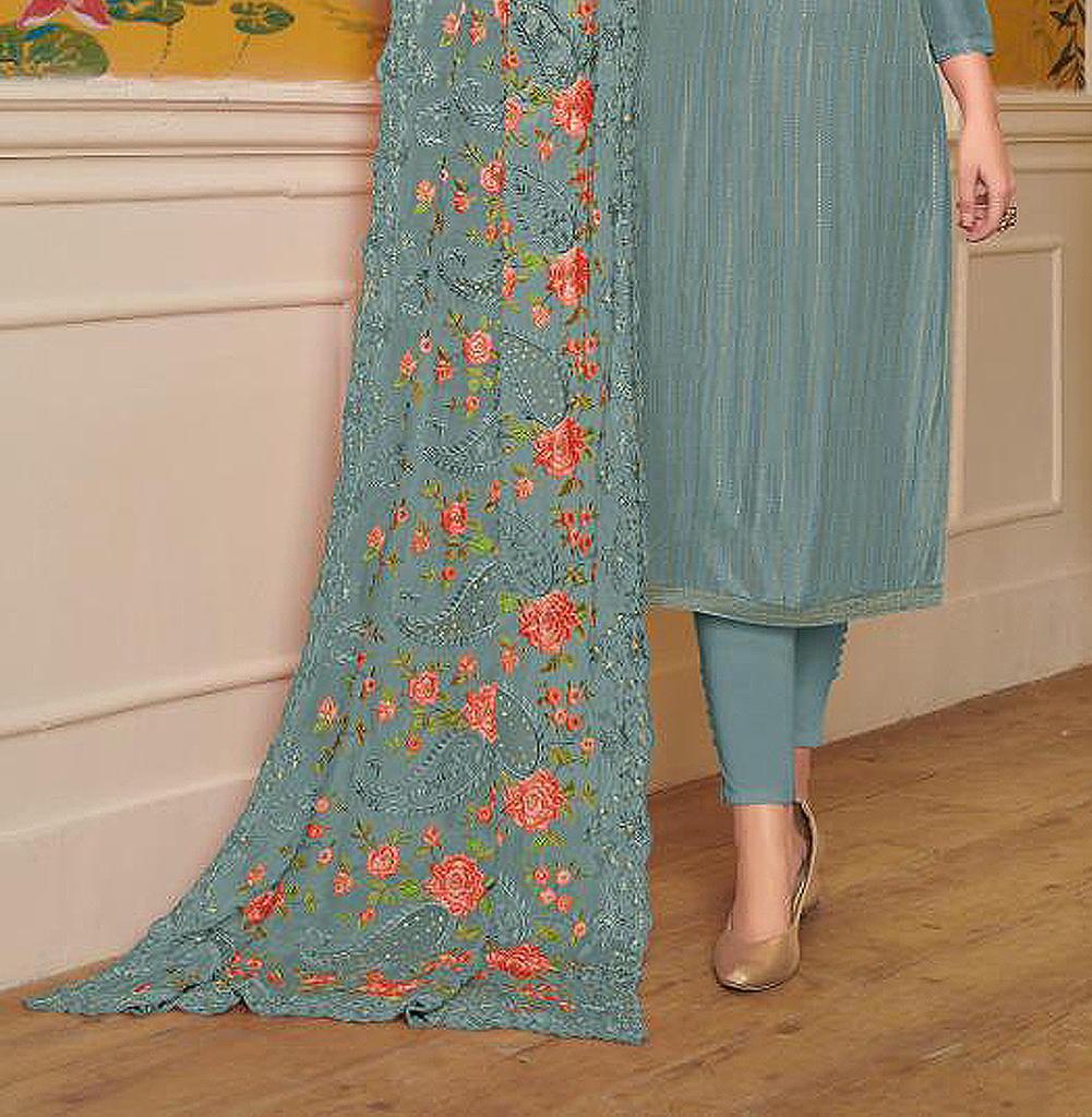 Stone Blue Designer Embroidered Silk Party Wear Pant Suit-Saira's Boutique