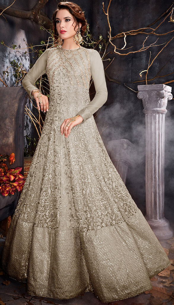 Stone Gray Designer Heavy Embroidered Net Wedding Anarkali Gown-Saira's Boutique