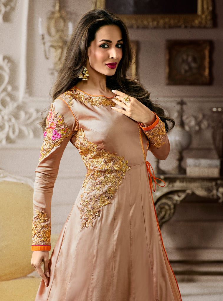 Tan & Orange Designer Embroidered Angrakha Style Anarkali Suit