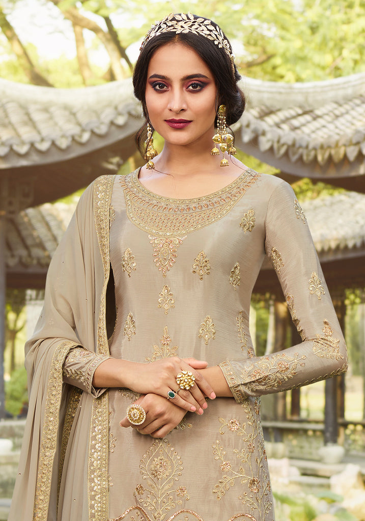 Taupe Designer Embroidered Party Wear Palazzo Suit-Saira's Boutique