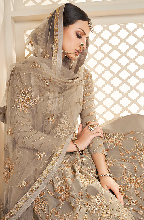 Taupe Designer Embroidered Georgette Anarkali Suit-Saira's Boutique
