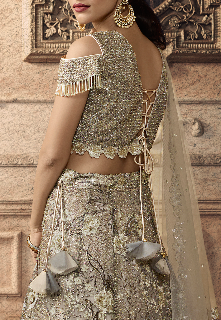 Taupe Designer Heavy Embroidered Net Wedding Lehenga-Saira's Boutique