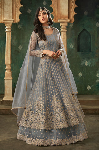 Olive Green Designer Embroidered Lehenga Style Bridal Anarkali Suit