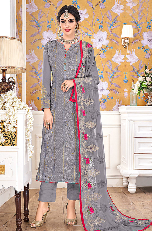 Taupe Gray Designer Embroidered Georgette Straight Cut Pant Suit-Saira's Boutique