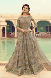 Taupe Gray Designer Embroidered Net Wedding Anarkali Gown-Saira's Boutique