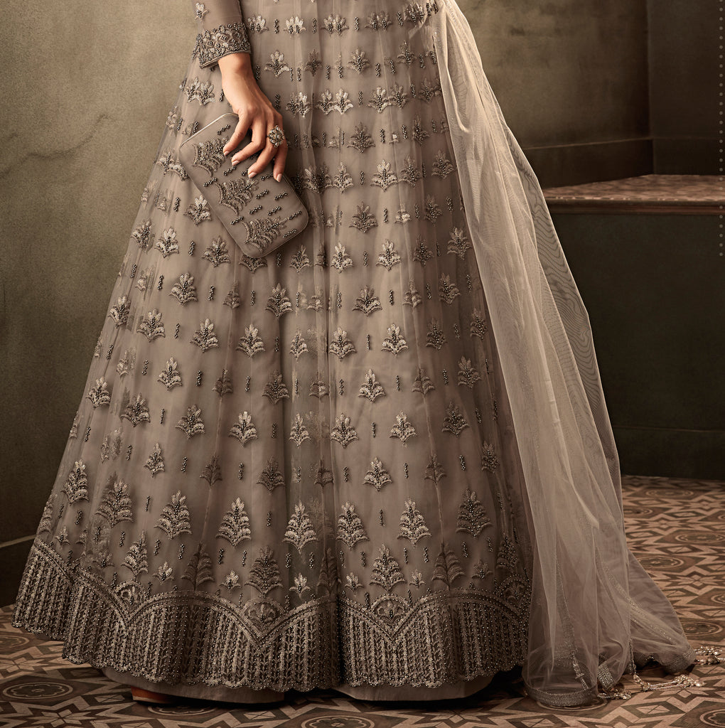Taupe Gray Designer Heavy Embroidered Net Wedding Anarkali Gown-Saira's Boutique