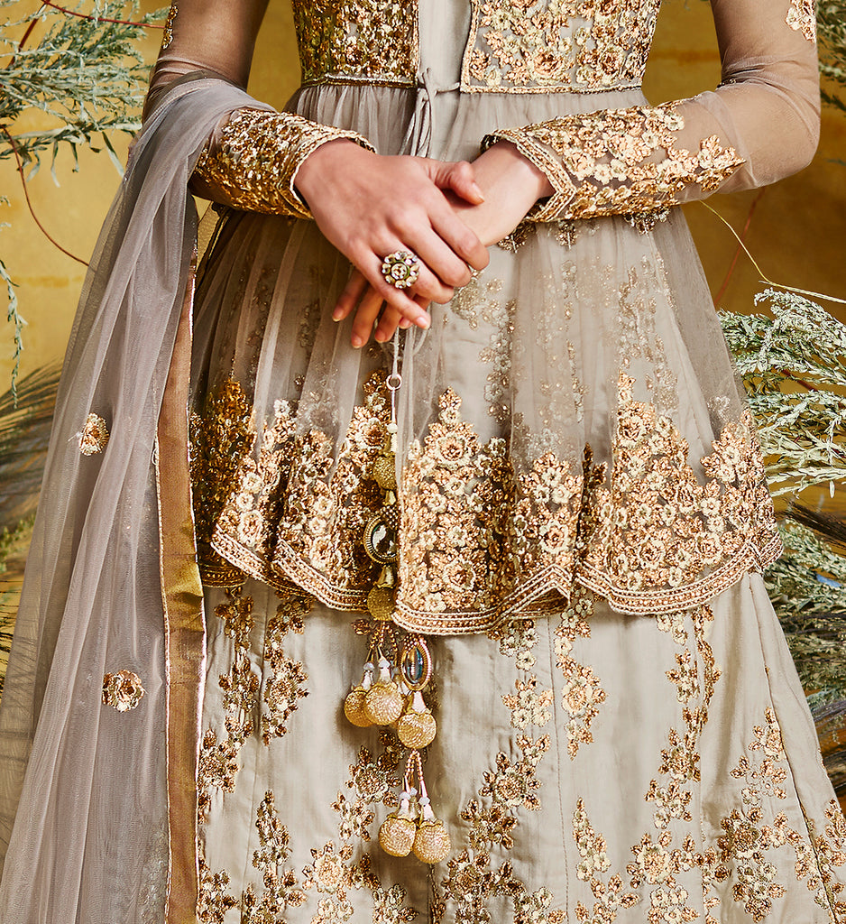 Taupe Gray & Gold Designer Embroidered Peplum Style Silk Anarkali Suit-Saira's Boutique