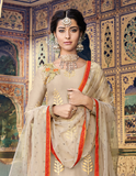 Taupe & Orange Designer Embroidered Chanderi Palazzo Suit-Saira's Boutique