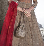 Taupe & Red Designer Embroidered Wedding Lehenga Style Anarkali Suit-Saira's Boutique