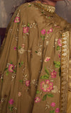 Teak Brown Designer Embroidered Party Wear Palazzo Suit-Saira's Boutique