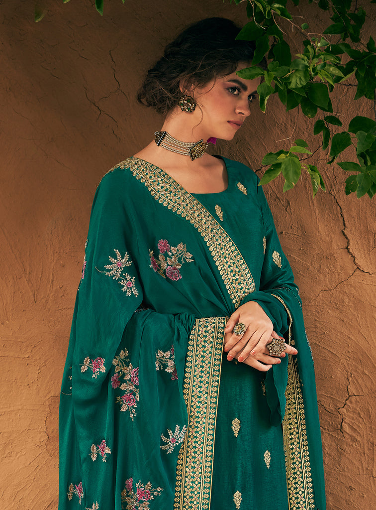 Teal Green Designer Embroidered Silk Party Wear Palazzo Suit-Saira's Boutique