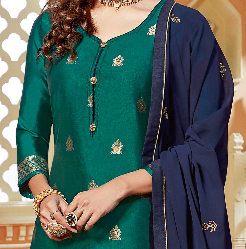 Teal Green & Navy Blue Designer Embroidered Jacquard Kurti Style Lehenga-Saira's Boutique