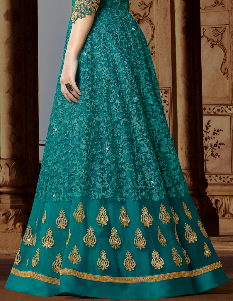 Teal Blue & Beige Designer Embroidered Net Anarkali Gown