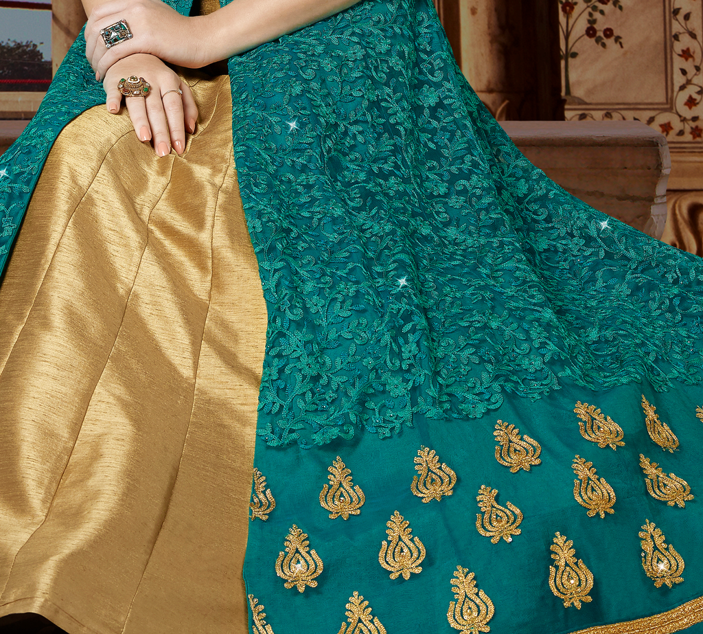Teal Blue & Beige Designer Embroidered Net Anarkali Gown-Saira's Boutique
