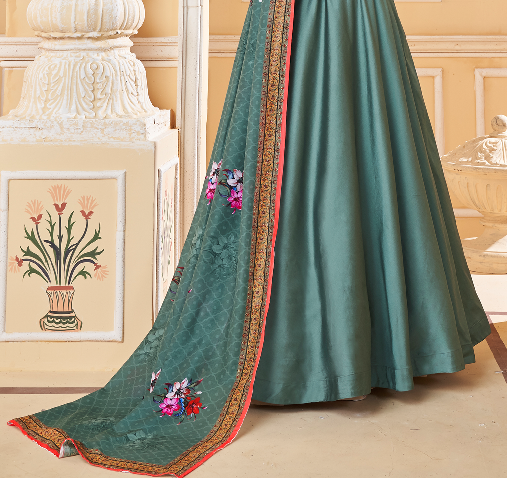 Teal Blue Designer Embroidered Silk Anarkali Suit-Saira's Boutique