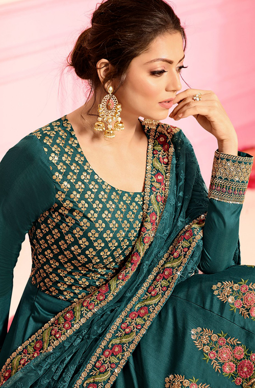 Teal Blue Designer Heavy Embroidered Chanderi Silk Wedding Anarkali Suit