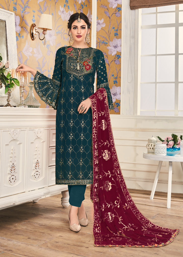 Teal Blue & Maroon Designer Embroidered Silk Pant Suit-Saira's Boutique