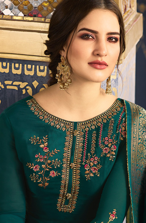 Teal Embroidered Satin Georgette Churidar Suit-Saira's Boutique