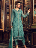 Teal Green Georgette Designer Embroidered Pant Suit-Saira's Boutique