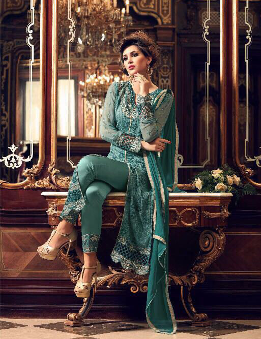 Teal Green Georgette Designer Embroidered Pant Suit