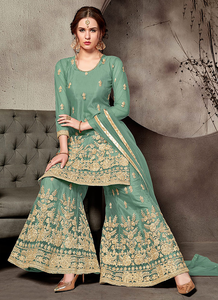 Teal Green & Gold Designer Embroidered Wedding Net Palazzo Suit-Saira's Boutique