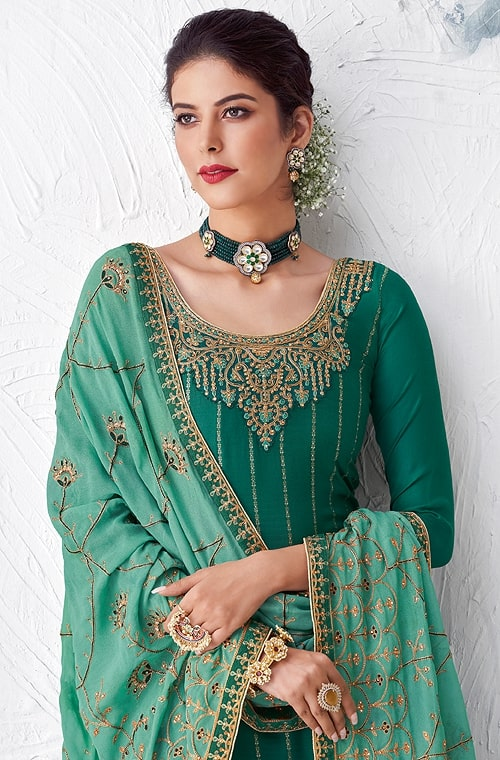 Teal & Sea Green Designer Embroidered Silk Party Wear Palazzo Suit-Saira's Boutique
