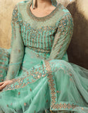 Turquoise Blue Designer Embroidered Net Wedding Sharara Suit-Saira's Boutique