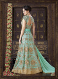 Turquoise Blue Designer Heavy Embroidered Net Gown