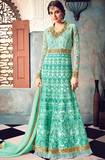 Turquoise Blue Designer Heavy Embroidered Net Wedding & Bridal Anarkali Suit-Saira's Boutique