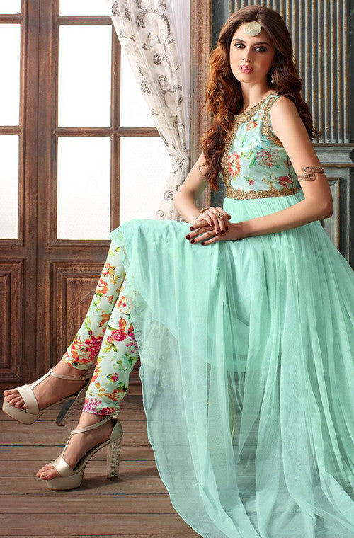Turquoise Blue Designer Net Embroidered Indo-Western Gown – Saira\'s ...